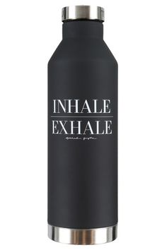 Inhale Exhale Water Bottle Black