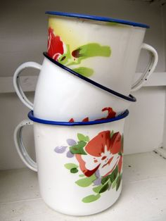 old enamel mugs