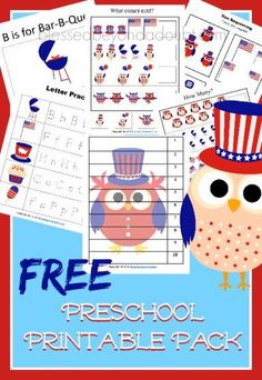 FREE 4th of July preschool printable pack. Over 20 pages are fun.