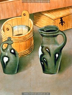 pitchers, bucket, chest. detail from Geburt Mariens: Kunstwerk: Temperamalerei-Holz ; Einrichtung sakral ; Flügelaltar ; Meister des Albrechtsaltars ; Wien  Dokumentation: 1438 ; 1440 ; Klosterneuburg ; Österreich ; Niederösterreich ; Stiftsmuseum  Anmerkungen: 126x112,5 ; Wien ; Röhrig 1981