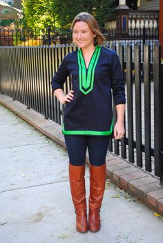 Old Mill Tunic in Nautical Navy with Boxwood Green Grosgrain Ribbon Trim by Elizabeth Doorhy // Made in USA // Fall Fashion // Classic Fashion // Preppy // Made in Chicago // Fall Style