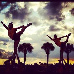 WVU Cheer stunting in Daytona! #wvu #connectWVU #cheerleading  @karina_thorn