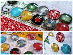 magnets made with scrapbook paper