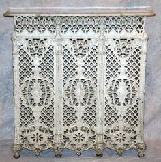 Victorian cast iron radiator cover with white marble top, painted white, circa to 37 Condition: loss to upper left side. Decor, Vintage Stoves, Pretty House, Victorian Homes, Vintage House, Radiator Cover, Victorian Furniture, Marble Top, Victorian