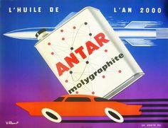 Galerie Montmartre: Original Vintage Posters Bernard Villemot Antar Molygraphite c. 1960