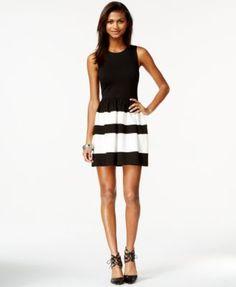 Bar III Colorblocked Fit & Flare Dress  | macys.com