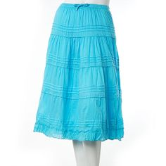 7999c9367397d Jane Ashley Solid Pintuck Tiered Long Skirt
