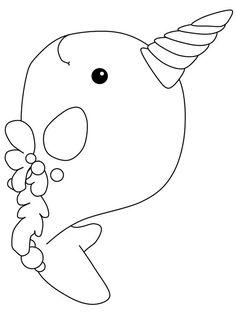 Kawaii Narwhals Coloring Page Free Printable Coloring Pages
