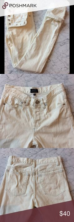 White/ Ivory APC Petit New Standard Jeans 100% cotton slim- fitting jeans by French it girl brand APC. Button closure. Five- pocket styling. My washing machine is on a rampage of destruction and tore one of the belt loops out when I was washing these for sale (ugh). See last picture. This is a quick fix if you have the skill (or initiative to go to the dry cleaners). Otherwise great condition aside from minor wear to fabric. Priced with damage in mind. This is a great opportunity to grab a…
