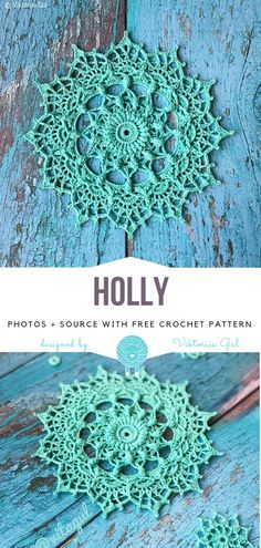 Holly Free Crochet Pattern - - Meticulous like a snowflake, Holly doily looks like a little piece of art. It's made with very fine thread and worked in circles. This amazing mandala. Crochet Pattern Free, Free Crochet Doily Patterns, Crochet Circles, Crochet Dreamcatcher Pattern Free, Tatting Patterns, Stitch Patterns, Thread Crochet, Crochet Crafts, Crochet Projects