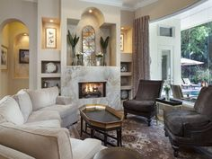love the windows Traditional living room - fireplace marble -seating arrangement Elegant Living Room, Living Room On A Budget, Living Room Grey, Home Living Room, Living Room Designs, Grey Room, Living Spaces, Florida Home, Naples Florida