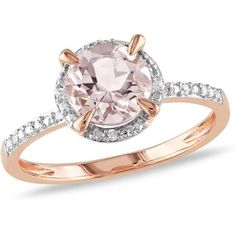 $244 Walmart 1-1/6 Carat T.G.W. Morganite and Diamond-Accent 10kt Pink Gold Halo Ring