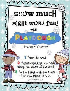 """Snow"" Much Sight Word Fun w/ Playdough Literacy Center Free Download"