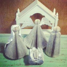 Book Page Nativity scene/ upcycled decor/Christmas decor/Eco friendly