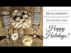 DIY Glamorous Dollar Tree Vases for 2016 Holidays (Part 2 Viewers Request) - YouTube