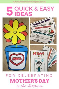 5 quick and easy ideas for celebrating Mother's Day in the primary classroom including crafts, food, decorations and cards.