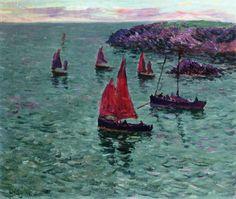 Henri Moret - Seascape with Boats (1897)