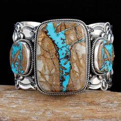 A XL Mens Darryl Becenti Royston Ribbon Turquoise Bracelet Sterling Silver | eBay
