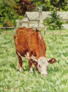 Original Oil Painting Cow with Bird on Back by AudraEsch on Etsy