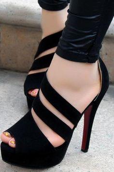 New Stylish Handmade Black Straps High Heel Sandals