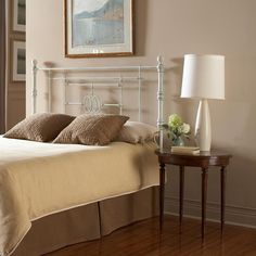 Lafayette Queen-Size Metal Headboard Panel with Traditional Grill Castings in Distressed White