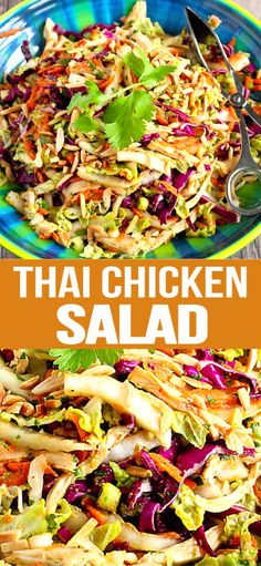 This Thai Chicken Salad recipe is always the star of the show whenever its served at our table. This easy healthy salad come together in 15 to 20 minutes. 236 calories and 4 Weight Watchers SP Chicken Salad Recipes, Healthy Salad Recipes, Thai Peanut Chicken Salad Recipe, Chef Salad Recipes, Salad Chicken, Health Recipes, Ensalada Thai, Pollo Thai, Asian Chicken Salads