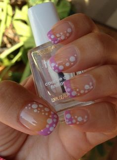 Purple Tipped French Nails with Polka Dots. (via forcreativejuice.com)