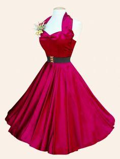 1950s Halterneck Burgundy Satin Dress