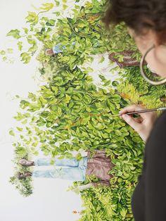 Artist Monica Rohan at work in her Brisbane home studio. Photo – Mindi Cooke for The Design Files.