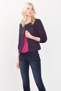 Esprit / Veste blazer courte texture tissée deux tons