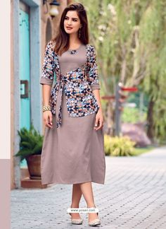 Dusty Pink Printed Cotton Satin Designer Readymade Kurti Sleeves Designs For Dresses, Dress Neck Designs, Stylish Dress Designs, Outfit Essentials, Silk Kurti Designs, Kurta Designs Women, Frock Design, Party Kleidung, Fancy Kurti