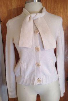 J. Crew Cardigan Women's Wool Cashmere Blend Sweater Cardigan Ivory Cream Medium #JCrew #Cardigan #Cashmere #Wool #Sweater