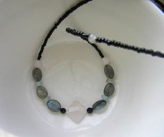 Pink Quartz and Labradorite necklace. Blue and by GemBeadJewelry, $18.75