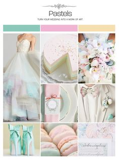 Pastel wedding inspiration board, color palette, mood board via Weddings Illustrated