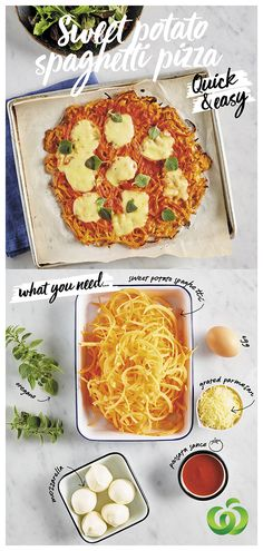 How to make a quick, easy and delicious Sweet Potato Spaghetti Pizza in three simple steps! Vegetable Recipes, Vegetarian Recipes, Cooking Recipes, Healthy Recipes, Pizza Recipes, Keto Recipes, Healthy Snacks, Healthy Eating, Healthy Dinners