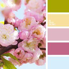 голубой, желтый, зеленый, оттенки розового, розовый, салатовый, цвет зеленых листьев, цвет цветков сакуры, цвет чистого неба, цвета весны, цвета весны 2017, цветовое сочетание для весны, цветы яблони.