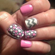 polka dots, chevron, pink, grey, white