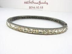 Estate Sterling Silver 925 Art Deco Paste Rhinestone Oval Hinge Bangle Bracelet  #Unbranded #Bangle