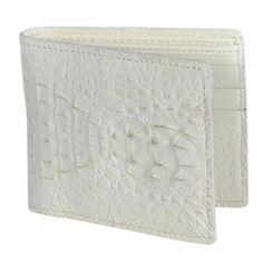 SKU#WIW1815 Los Altos Cream ~ Ivory ~ Off White Genuine Crocodile Card Holder Wallet $109 Accessories Skin Wallets