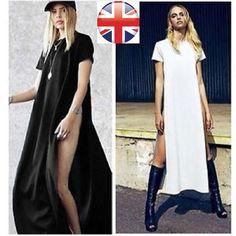 LADIES BLACK HIGH SPLIT SIDE SLIT BOHO HIPPIE LONG TOP WOMEN DRESS MAXI TUNIC