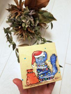 Christmas gifts for children - Christmas present for kids lock box - Wooden trinket box with lock - Lockable keepsake box - Treasure box  #cat #christmas #santaclaus #funny #kitty #children #kids