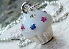 10% OFF SALE...Blinged Out Cupcake Necklace Sterling Silver chain. $36.00, via Etsy.