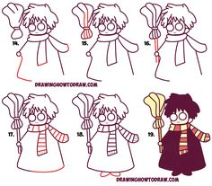 Learn To Draw Learn How to Draw Cute Harry Potter (Chibi / Kawaii) Simple Steps Drawing Lesson - Today I will show you how to draw a really cute Harry Potter character. I have based this cute Harry Potter character on these cute Harry Potter Bookmarks Harry Potter Journal, Harry Potter Bookmark, Cute Harry Potter, Harry Potter Characters, Kawaii Drawings, Doodle Drawings, Easy Drawings, How To Draw Steps, Learn To Draw