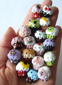 Retro Cherry Cupcake Lampwork Bead by keiara SRA by bykeiara