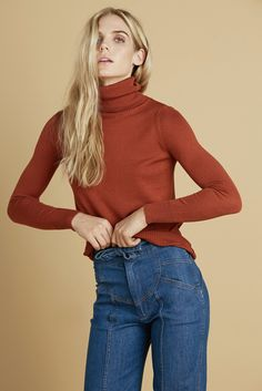 Stoned Immaculate Delilah Turtleneck Sweater in Rust