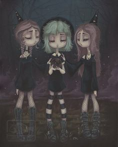 The Sisters - Gothic Witch scrying Print