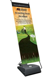Single sided vinyl prints with full digital imprinting capabilities fit into any sized advertising budget.