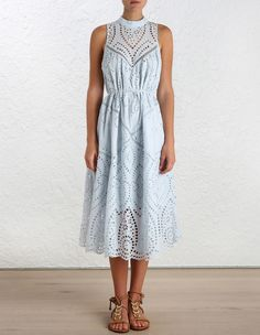 Epoque Broderie Panelled Dress, from our Resort Swim 16 collection, in Dusty Blue broderie anglaise. Panelled mid-length dress, button-down closure at back neck. Removable self tie shoestring belt.