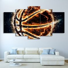 This stunning Basketball On Fire 5 Piece Canvas Print brings the exciting game of basketball right onto your wall. This is the perfect wall art for a living room, bedroom or any room - luvununique.com #basketball #wallart #canvasprint