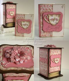 Tattered Blossoms Tea Box and Card - Gift Set
